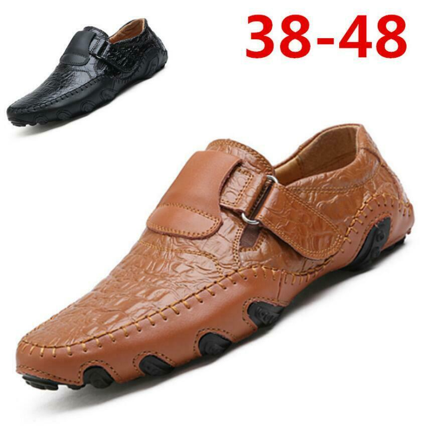 Mens Breathable Driving shoes Slip On Genuine Leather Moccasins Casual Loafers