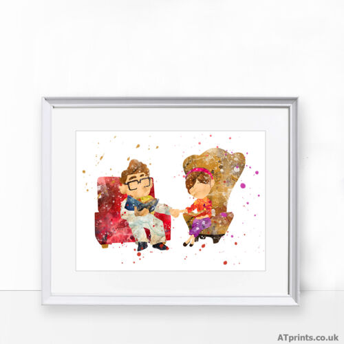 UP Disney Print Poster Watercolour Framed Canvas Wall Art Carl and Ellie gift