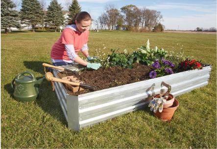 Large Raised Garden Bed Galvanized Steel Planter Box Veggies Herbs