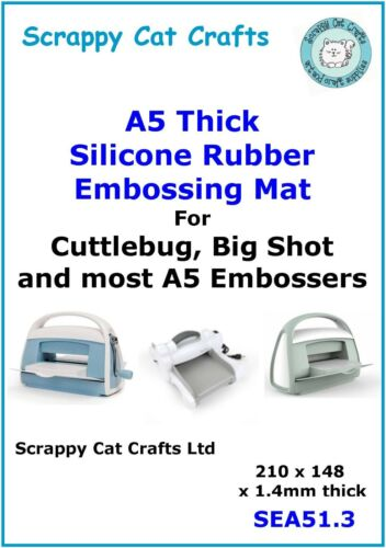 SEA5S1.3 A5 Thick Silicone Embossing Mat by Scrappy Cat for Cuttlebug etc