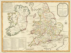 Ireland And England Map.Map Invasions England Ireland Civil Wars 1797 Ebay