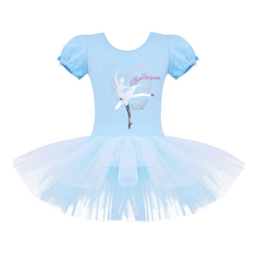 Girl Gymnastics Ballet Dance Dress Leotard Tutu Skirt Princess Dancewear Costume