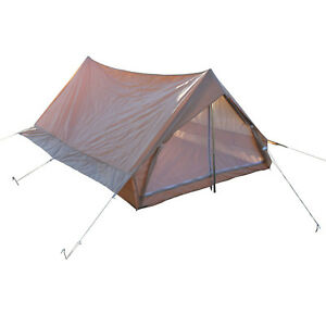 Image is loading French-Army-F1-Beige-Nylon-2-Men-Tent-  sc 1 st  eBay & French Army F1 Beige Nylon 2 Men Tent With Groundsheet Pegs ...