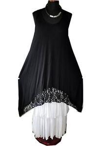 Lagenlook A-Linie-Top-Tunika-Kleid Jersey+Spitze WEISS 44,46,48,L,XL,XXL
