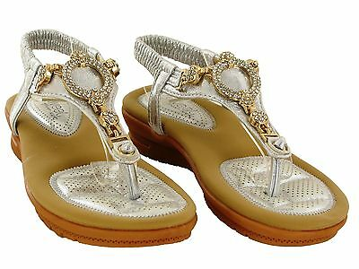 Totalmente nuevo para Mujer Toe Post Diamante Baja Tacón Con Plataforma Sandalias De Tiras UK Size 3-8
