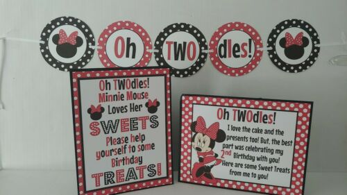 Disney Minnie Mouse OH TWOdles Hanging Banner and 2 Stand up Signs Red rev 6//28