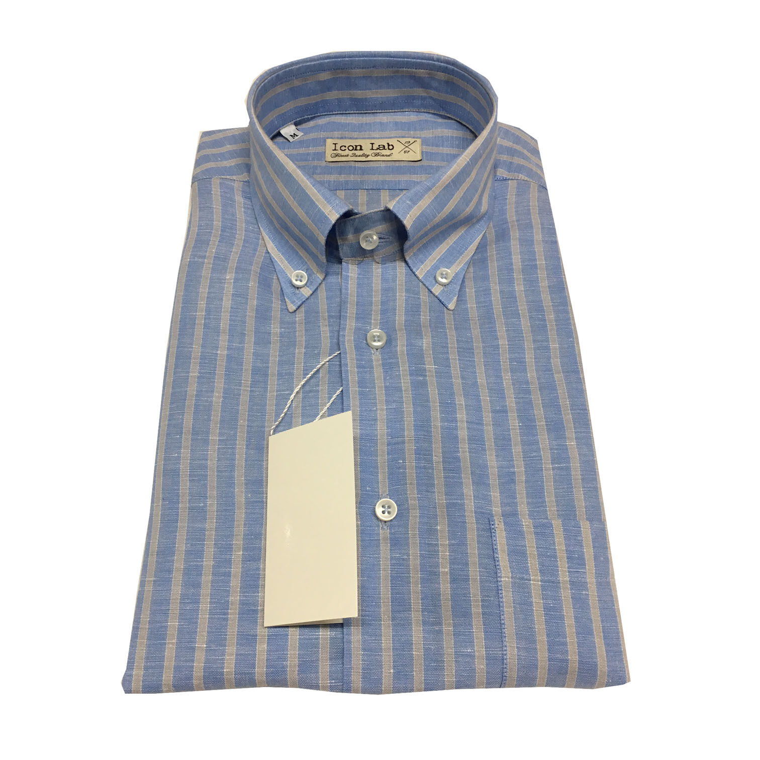 ICON LAB 1961 men's shirts short sleeves Striped baby bluee pearl 58% linen 42%