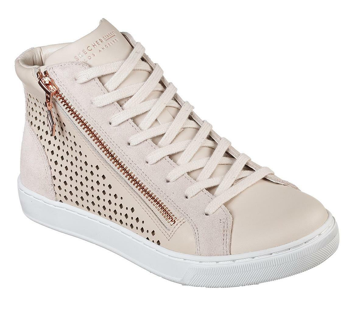 Skechers Natural Prima Leather Cut-Out Diamond Siding Zipper High Tops Wm 10 NEW