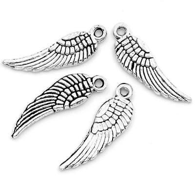 LOT de 12 PENDENTIFS perles breloque grandes AILES d/'ange oiseau 30x9,5mm WING