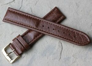 Raised-padded-center-pattern-19mm-Genuine-Leather-watch-band-stitched-old-stock