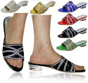 Mujer Fiesta Tallas Grandes Tacon Bajo Zapatos Pantuflas 20489 Ebay
