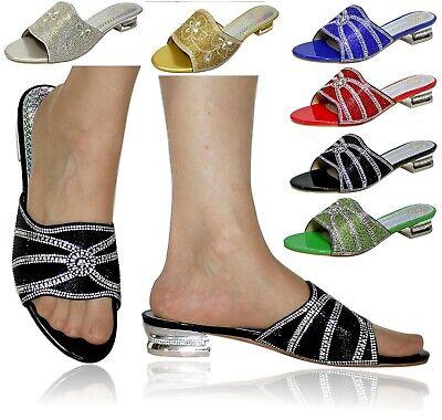 Donna Festa Taglie Forti Tacco Basso Piatto Pantofole Scarpe Muli Size - 20489-mostra Il Titolo Originale