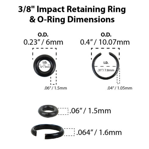 """3//8/"""" Impact Wrench Retaining Ring Clip with O-Ring fits Milwaukee Type 3 Sets"""