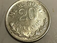 1898 Mo M  Mexico 20 Centavos  Coin Silver 0.902,7 SECOND REPUBLIC AU KM# 405.2