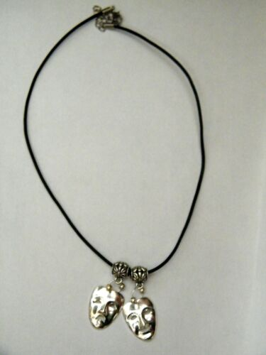 """20/"""" NEW Thespian Masks Choker ACTORS Drama Necklace Tragedy Comedy Faces 18/"""""""