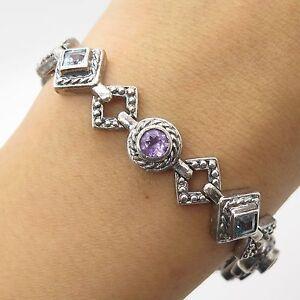 FAS-925-Sterling-Silver-Real-Amethyst-Blue-Topaz-Gemstone-Link-Bracelet-7-034