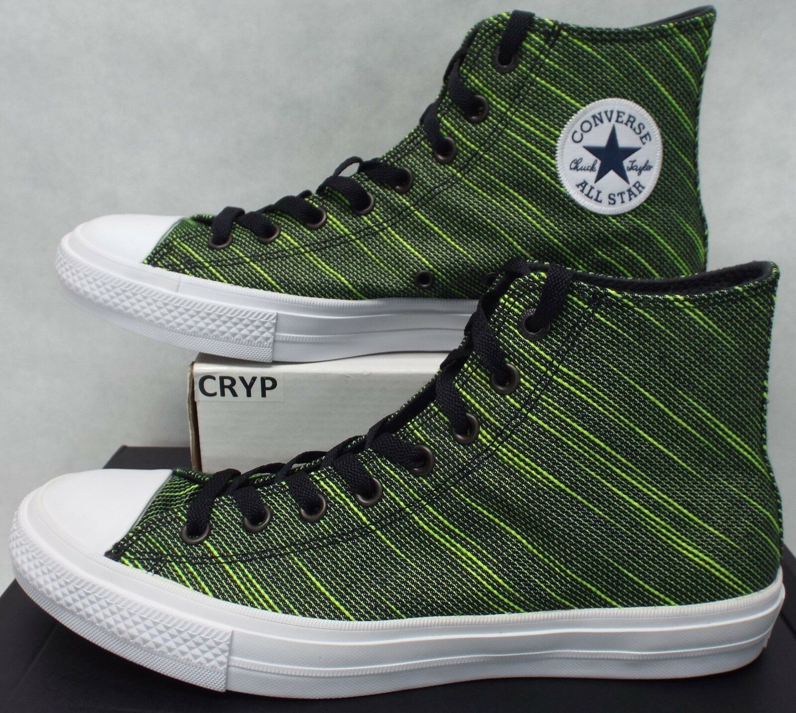 Mens 11 Converse Chuck Taylor All Star CTAS 2 Hi Black Volt Green 151086C  80