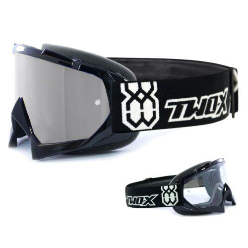 TWO-X Race Crossbrille MX Enduro Lunettes Noir glace polie miroir argent
