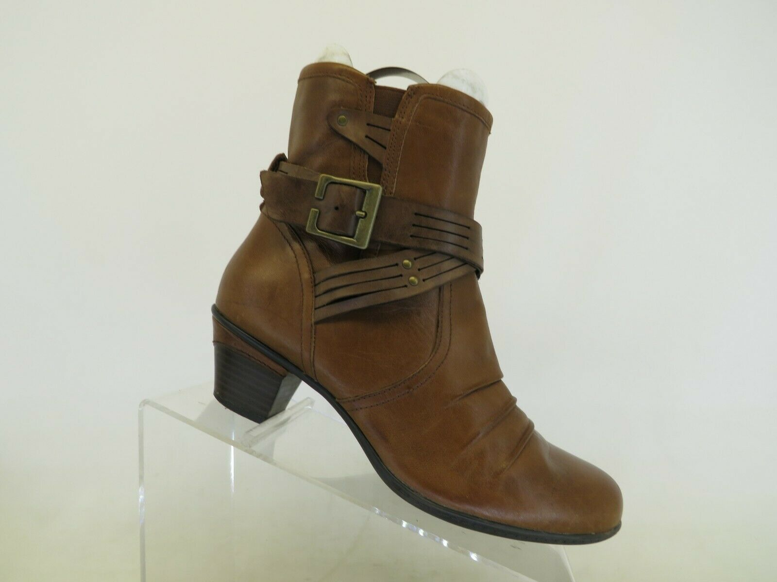 Earth Brown Leather Zip Buckle Ankle Fashion Boots Bootie Size 8.5 B