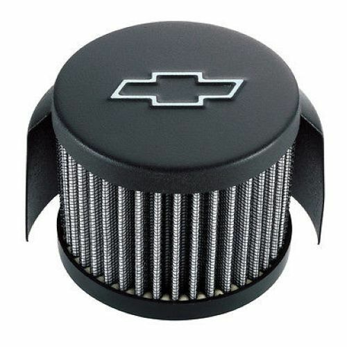 """Black PROFORM 141-613 3/"""" Chevy Bow Tie Air Breather Cap Push-In Open Round"""