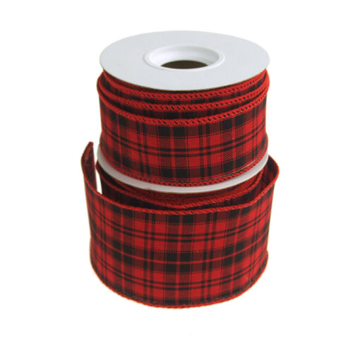 Checkered King Plaid Wired Holiday Ribbon, RedBlack, 10 Yards