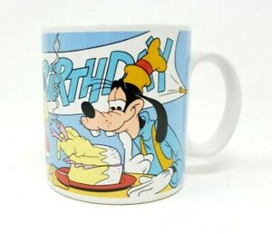 Disney-Mickey-Mouse-amp-Goofy-Happy-Birthday-Coffee-Mug-Vintage-Applause