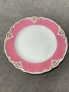 Antique German Meissen Porcelain Pink Rococo Style Plate