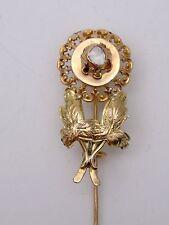 Très belle broche épingle Provençale ancienne en or 18k et diamant XIXeme fleur