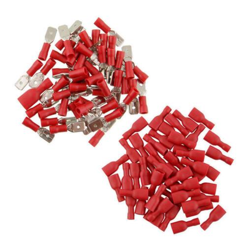 100x Set Flachstecker Flachsteckhülsen Rot Quetschverbinder Isoliert Kabelschuhe
