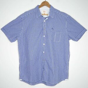 RM-Williams-Mens-Classic-Fit-Short-Sleeve-Blue-Gingham-Check-Shirt-Size-3XL