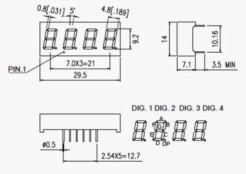 "5pc 0.36/"" 7 Segment Four Digit LF0366A Color= Orange LED display CA Lenoo Taiwan"