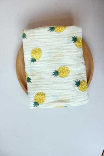 Muslin Pineapple Fruit Luxury Baby Muslin Square Swaddle Blanket Cloth Organic
