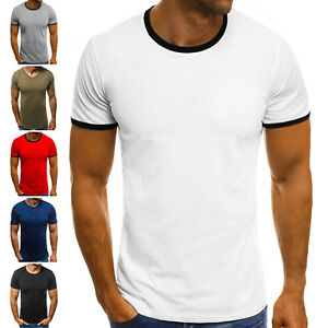 T-Shirt-Kurzarm-Shirt-Basic-Slim-Fit-Fitness-Klassiker-OZONEE-7444-MIX-Herren