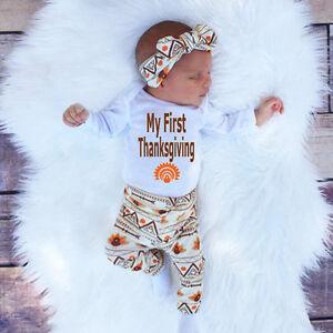 b1da5d983 Newborn Infant Baby Boy Girl T-shirt Tops+Pants+Hat Outfit Clothes ...