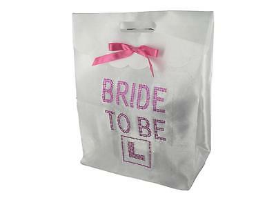 SET 1 Hen Night Party White Gift Diamante Bag for the Bride to Be with Goodies