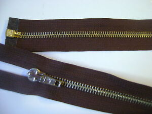 fermeture-eclair-separable-metal-6-mm-col-brun-L-60-cm-N-22-E-S-etiquette-NEUF