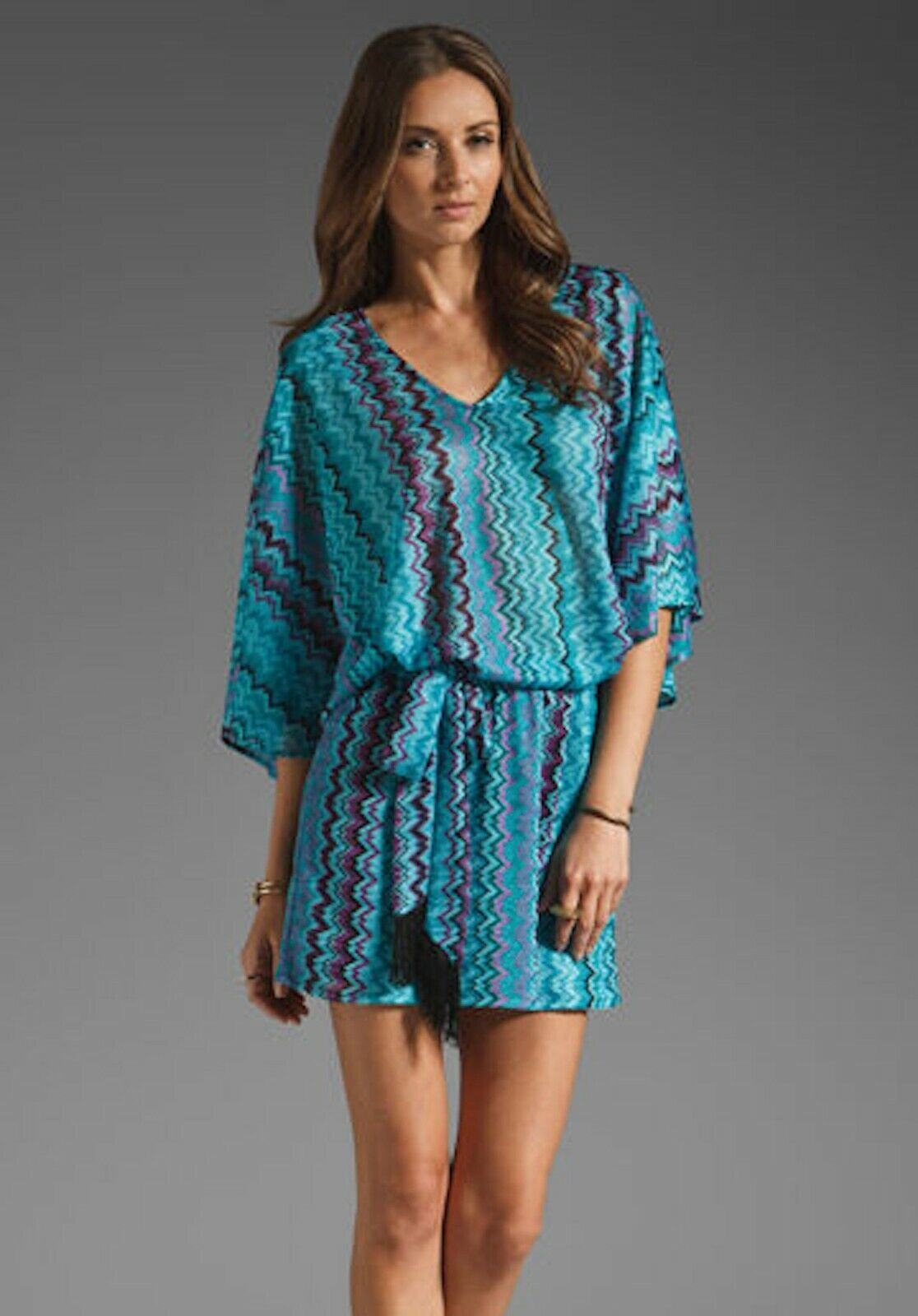 Karina Grimaldi Nicole Knit Mini Dress Teal Zig Zag NEW Short bluee