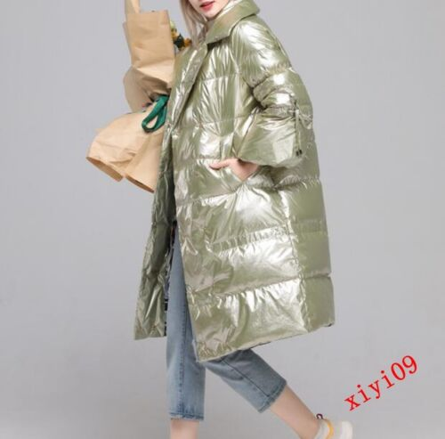 Jacket Long Down Shiny New Warm Duck Outerwear Winter Leather Womens Coat Parka 8aCwqRw