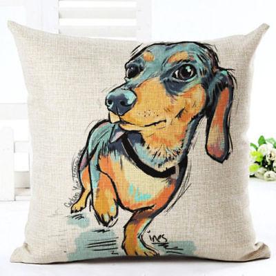 Watercolour Art Linen Pillow 45cm Gift SAUSAGE DOG Cushion Cover DACHSHUND
