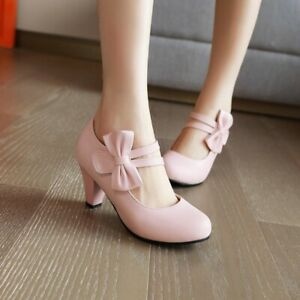 Details about  /New Women Mary Jane Round Toe Ankle Strap Mid 4cm Heel Pump Dress Shoes 44//48 D
