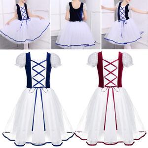 21a7123c28a6 Girls Princess Fancy Dress Party Ballet Tutu Leotard Lace Up Dance ...