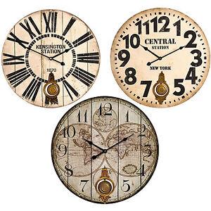 Large 58cm Wooden Wall Clock Round Pendulum Vintage Modern ...