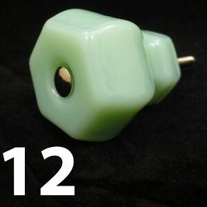 12-LARGE-1-5-034-JADEITE-GREEN-GLASS-Kitchen-Cabinet-Drawer-Knobs-Depression