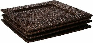 American-Atelier-Rattan-Square-Rattan-13-034-Charger-Plate-Brick-Brown-SET-OF-4