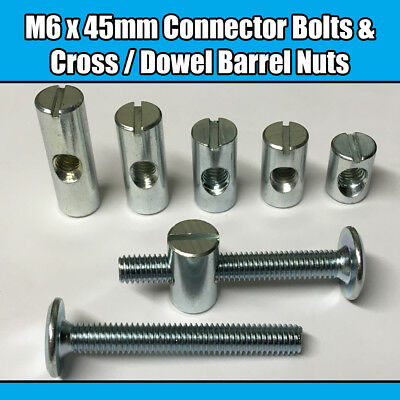 M8 x 45mm Furniture Connector Bolts Allen Key Flat Head Joint Fixing Unit