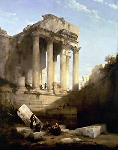 Ruins-of-the-Temple-of-Bacchus-by-David-Roberts-Canvas-Building-11x14-Print