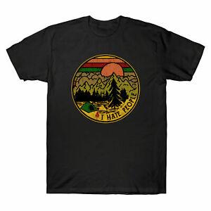 Je-Deteste-Les-Gens-que-j-039-adore-Camper-Retro-Vintage-Men-039-s-T-Shirt-Coton-Noir-Tee-Top