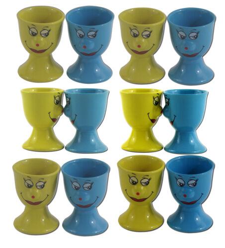 4er 8er 12er SET Eierbecher Keramik Gelb Blau Eier Gesicht Smiley Ei Becher