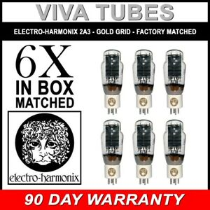 New-Ip-amp-Gm-Factory-Matched-Sextet-6-Electro-Harmonix-2A3-Gold-Grid-Tubes