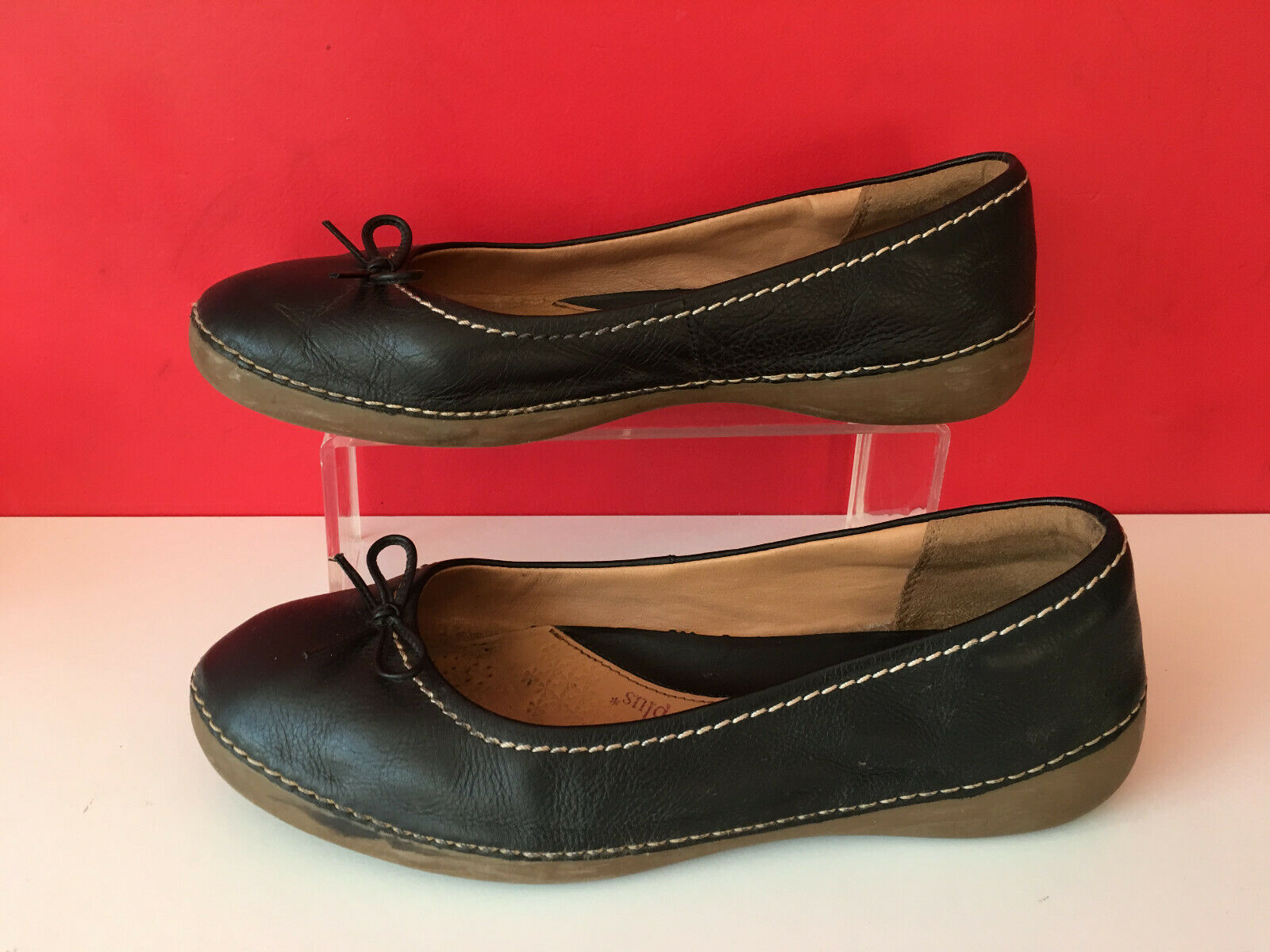 Clarks Plus Black Leather Comfort Pump Ballet Dolly Flat shoes UK 8 EUR 42